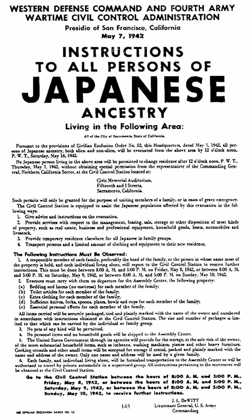 Japanese Ancestry Internment Order