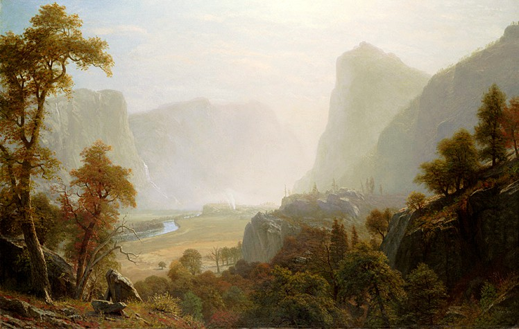 "Image: Albert Bierstadt: ""Hetch Hetchy Valley from Road"", oil, undated c.1870. Link Here."