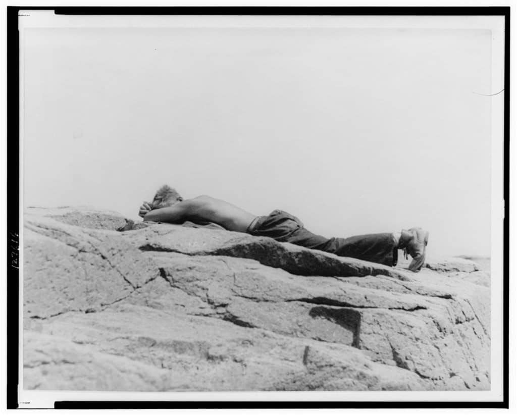 CCC boy, asleep, Bar Harbor, Mt. Desert Island, Maine