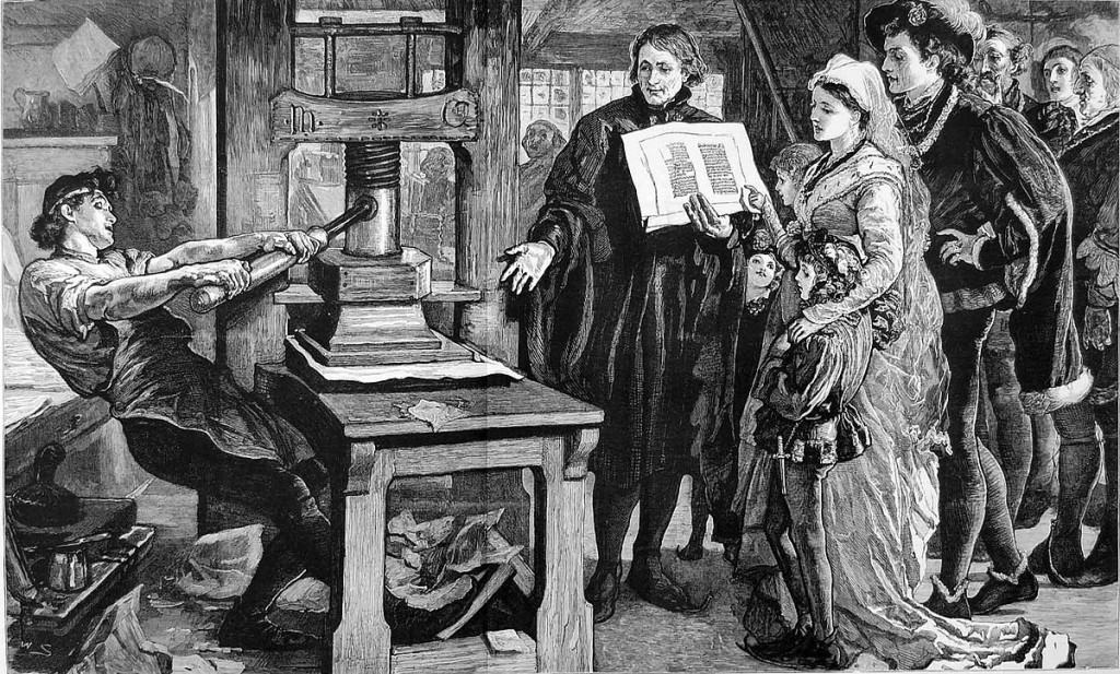 William Caxton showing specimens of his printing to King Edward IV and his Queen. 1877