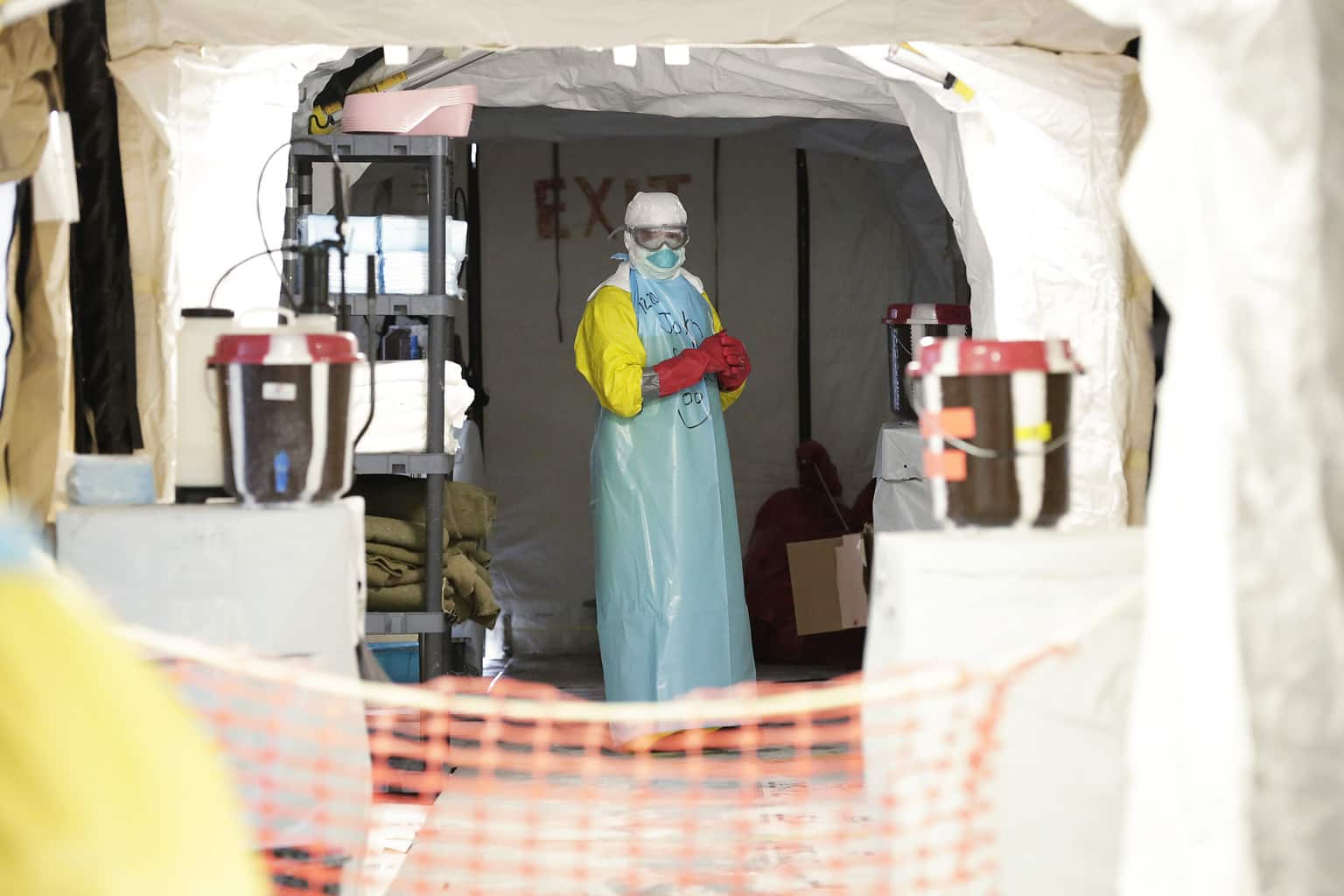 Scene from a United States-run Ebola treatment facility in Monrovia, Liberia, during Secretary-General Ban Ki-moon's visit to the facility.