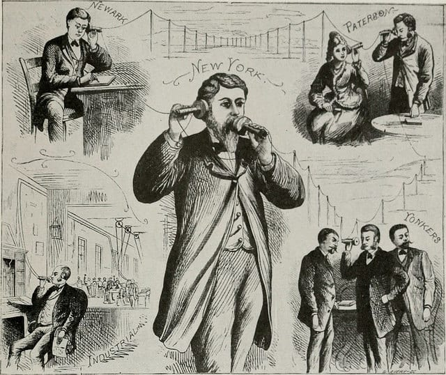 The figure marked New York may be considered as a public speaker delivering a lecture to be heard in the towns mentioned.