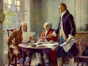 Founders developing the Declaration of Independence, preceding the Constitution