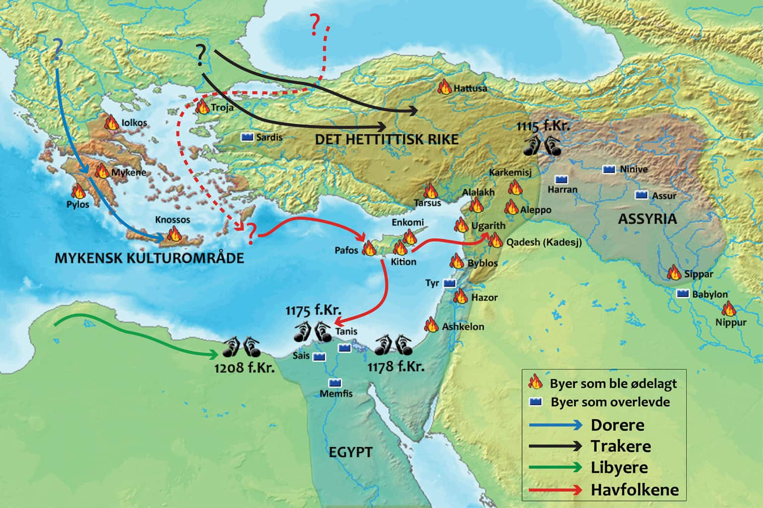 Map showing the Bronze Age collapse (conflicts and movements of people)